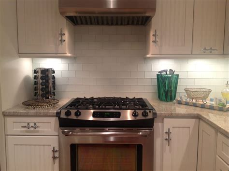interior home design white glass subway tile backsplash