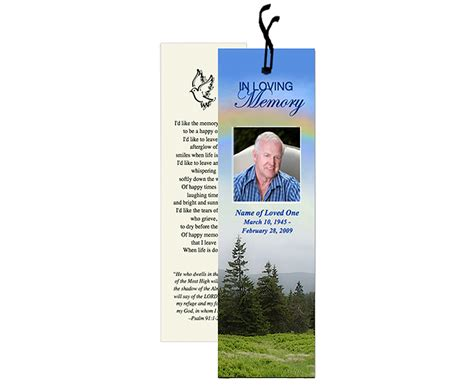 memorial bookmarks template free printable bookmark templates