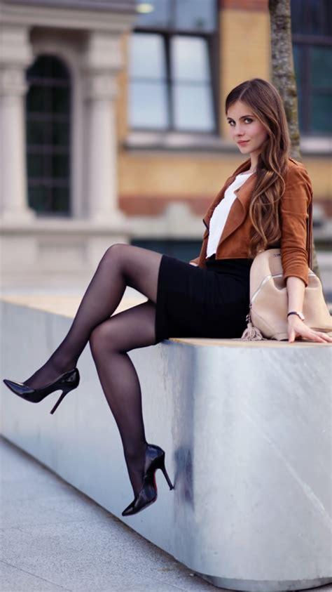 brown jacket with fringes black pencil skirt black