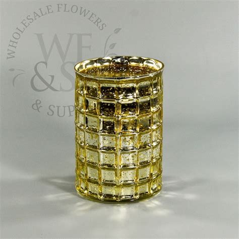 mercury glass mosaic cylinder vase in gold 7 quot