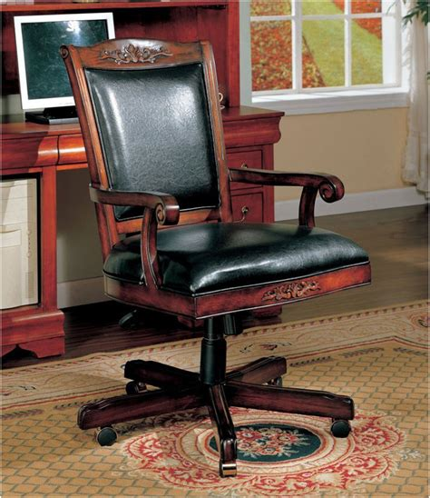 Leather Desk Chairs Wheels Design Ideas Antique Wooden Desk Chair On Wheels Interior Design Ideas