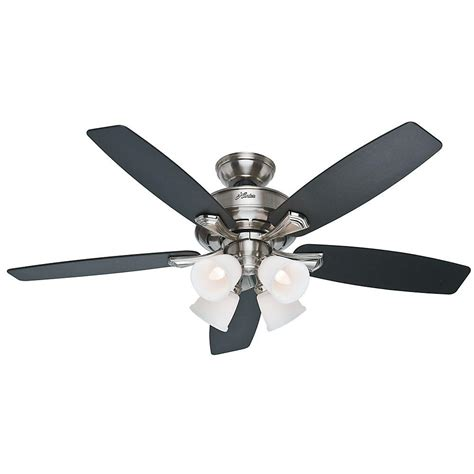 brushed nickel outdoor ceiling fan with light hunter belmor 52 in indoor brushed nickel ceiling fan