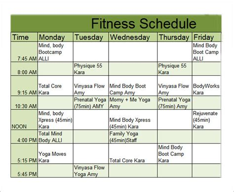 fitness calendar template 4 sle workout schedule 4 documents in excel pdf