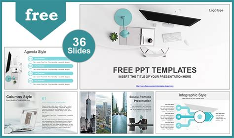 Simple Office Computer View Powerpoint Template Office Ppt Templates