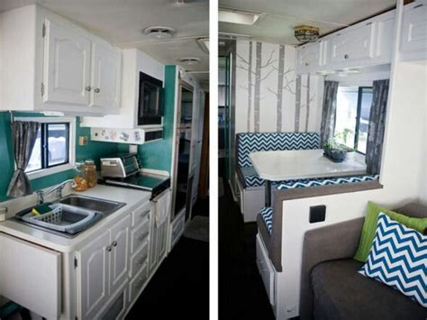 interior home improvement cheery seat cushions and fun wallpaper minnie winnie rv renovation pinterest rv rv life