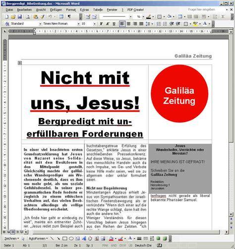 Word Vorlage Zeitung Bibelzeitung