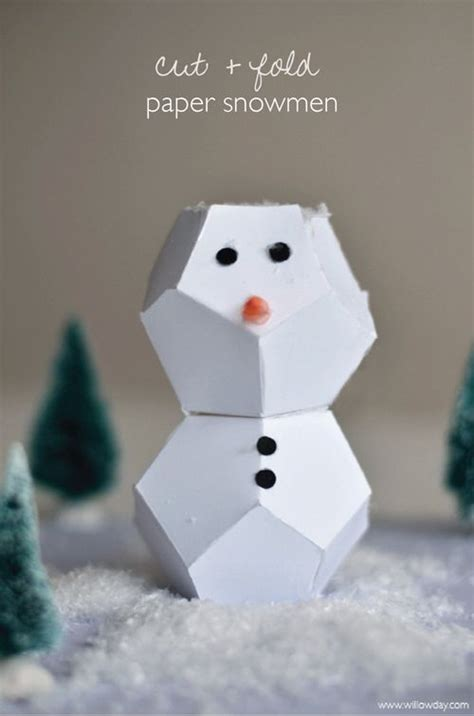 How To Make Snowman With Paper - origami snowman cut fold paper snowmen willowday