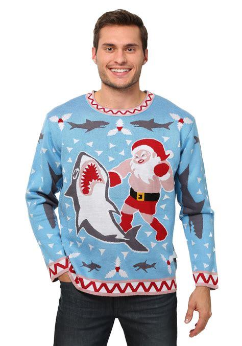 Sale 7365 Sweater Blue Unicorn s santa vs shark costume sweater