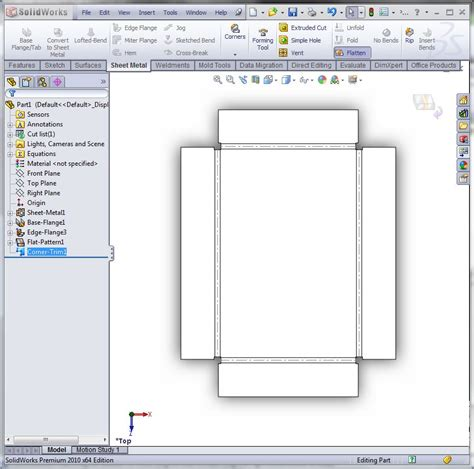 solidworks flat pattern drawing view auto vs corner relief in solidworks sheet metal