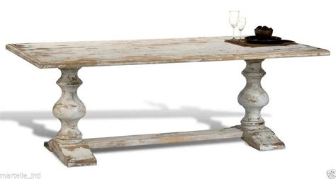 dining table country white distress trestle