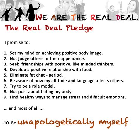 Commitment Letter For Weight Loss The Real Deal Self Acceptance And Positive Image We Are The Real Deal