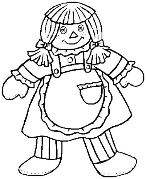 Rag Doll Coloring Page | printable easter coloring page rag doll
