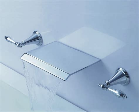 Wall Mounted Kitchen Sink Taps Contemporary Waterfall Bathroom Sink Tap Wall Mount T7008b