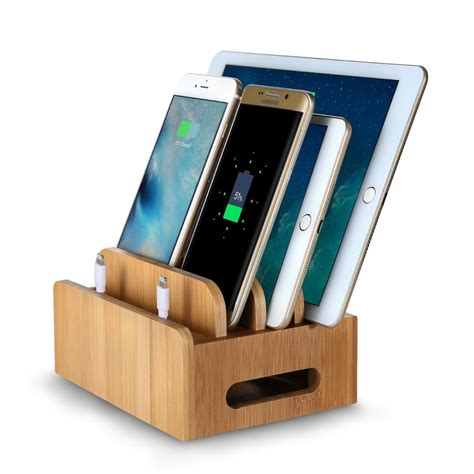phone charging stand bamboo multi device phone holder charging dock stand