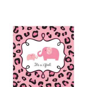 pink safari baby shower beverage napkins 36ct city