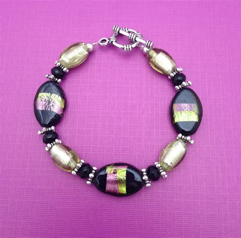 cool beaded jewelry black foil and ovaline bracelet unique beaded jewelry by