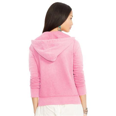 Jaket Sweater Polos Hoodie Zipper Pink ralph fleece zip up hoodie in pink lyst