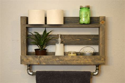 rustic modern bathroom shelf bath towel rack by