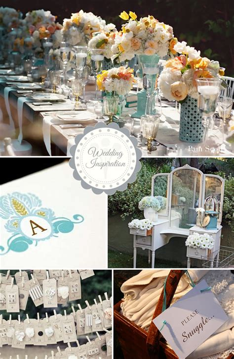 shabby chic wedding table decorations blue and creamsicle shabby chic wedding inspiration board