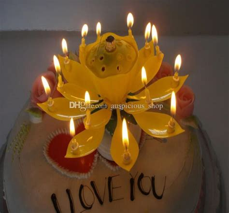 rotating musical lotus flower happy birthday candle lights musical candle lotus flower happy birthday gift rotating lights decoration candles