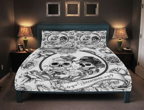 Day Of The Dead Bed Set with Skull Bedding Day Of The Dead Duvet Comforter Cover Set
