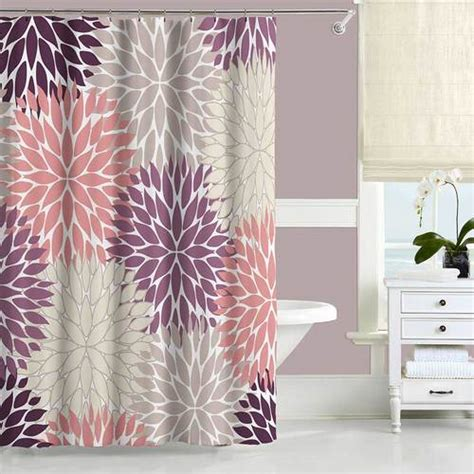 Pink And Beige Curtains Decor Dahlia Shower Curtain Purple Pink Beige