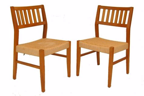 Teak Dining Room Chairs Pair Of Mid Century Modern Teak Dining Room Chairs By Sun Cabinet Co Ebay