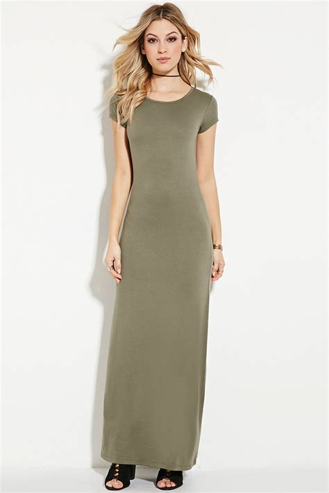Dress Stretch Wedges Dress forever 21 stretch knit maxi dress in green lyst