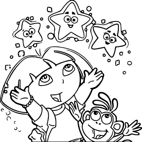 dora star coloring pages dora and monkey star picture image dora the explorer