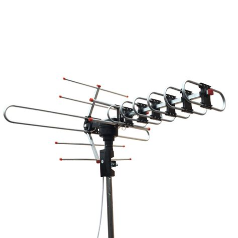 outdoor waterproof lified antenna hd tv high gain 36db uhf vhf fm black ebay