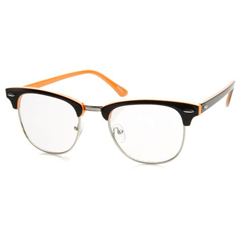 colorful glasses two tone colorful half frame clear lens horn rimmed