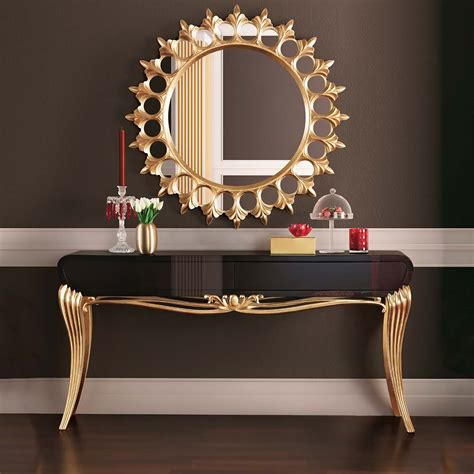 console table furniture modern black lacquered gold leaf console table juliettes