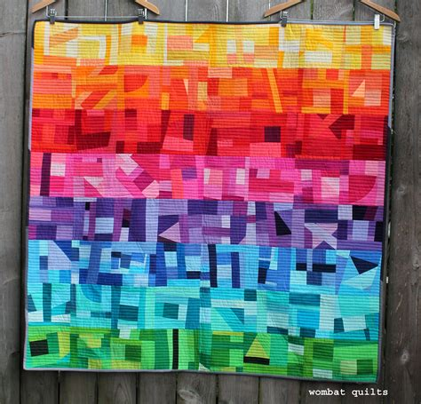 Rainbow Patchwork Quilt - this week i finished up my rainbow improv quilt just in