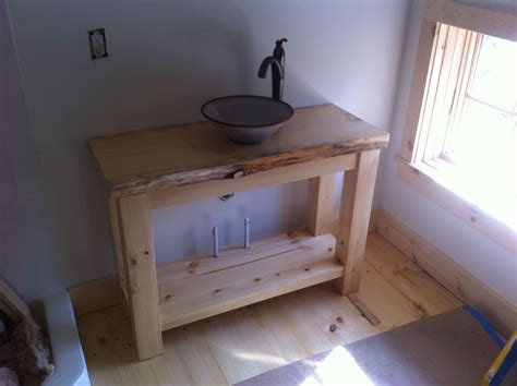 Handmade Bathroom Vanities - handmade rustic pine vanity with vessel sink by wooden