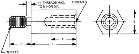mm hex    thread male female standoff