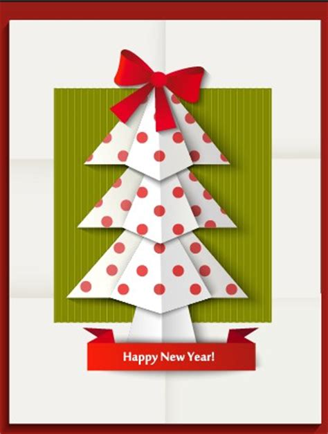 New Year Origami - 2014 and new year origami greeting card vector