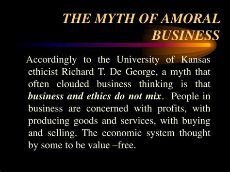 Moral Immoral Amoral ppt the myth of amoral business powerpoint presentation