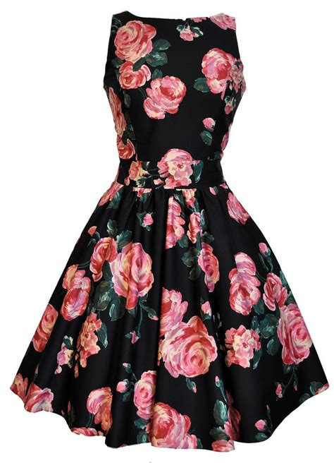 Dress Roses Black black pink tea dress style me pretty