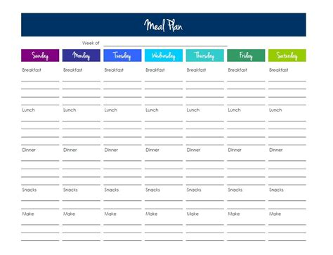 weekly menu planning template luxury 21 day fix meal plan template