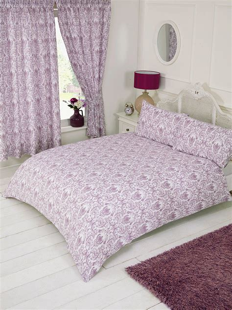 plum purple white floral paisley damask design bedding duvet quilt cover set