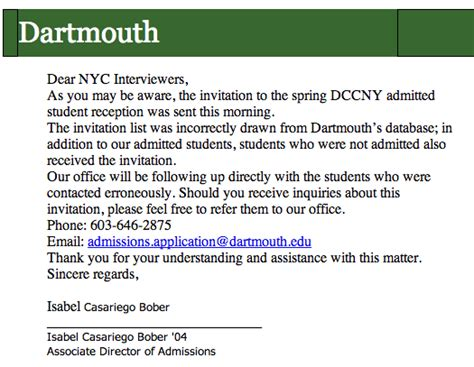 Acceptance Letter Dartmouth the dartmouth review letter that best free home