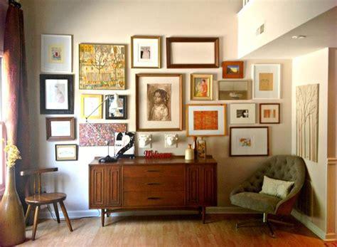 Danish Living Room Living Room Industrial With Wall Mural | danish credenza art arrangement on wall mid century modern