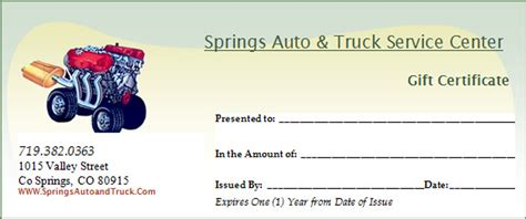 printable automotive gift certificates promotions springs auto truck service center