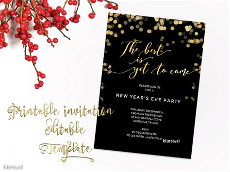 new year invitation card template 11 free templates in microsoft word