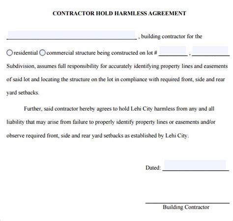 hold harmless agreement 9 free sles exles format