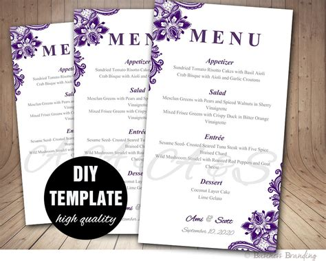 diy wedding menu template purple wedding menu card template diy wedding menu template