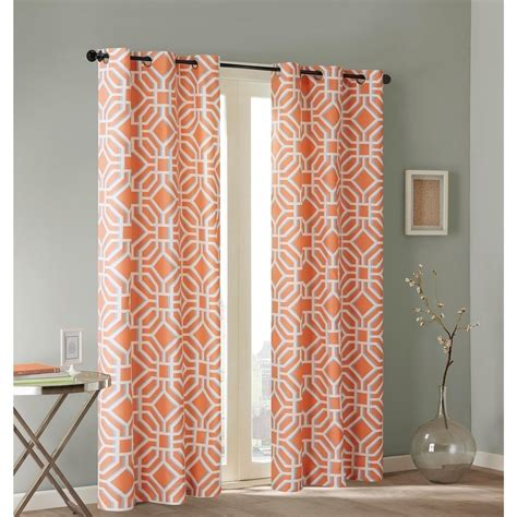 Geometric Orange Curtains New Set 2 Curtains Panels Drapes Pair 63 84 Inch Grommet Orange Gray Geometric Ebay