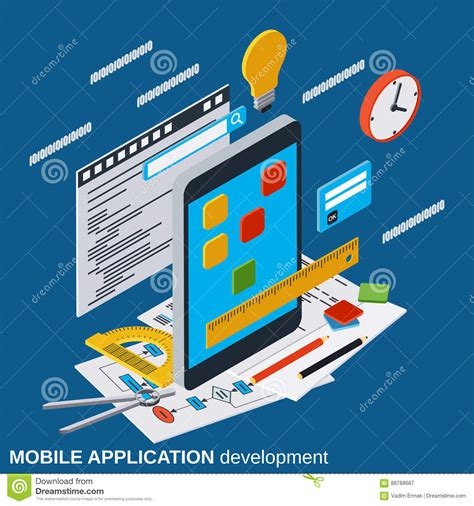 mobile application design vector vector illustration of mobile application development