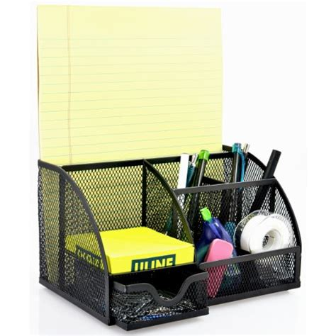 desk supply organizer mygift multipurpose black metal mesh 6 compartment desk