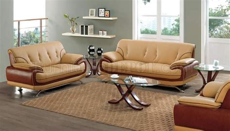 two tone living room furniture light and dark brown leather two tone living room set